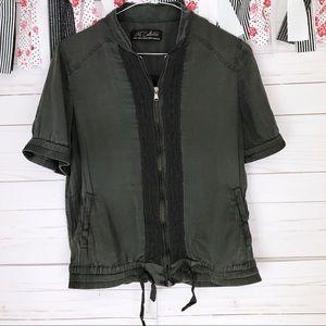 Zara TRF Collection Silk Short Sleeve Bomber Coat